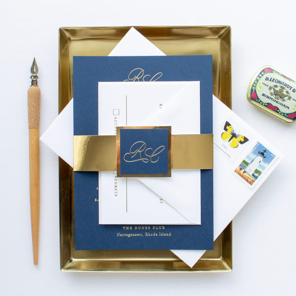 gold foil calligraphy The Dunes Club wedding