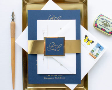 Navy and Gold Wedding Invitations | Traditional