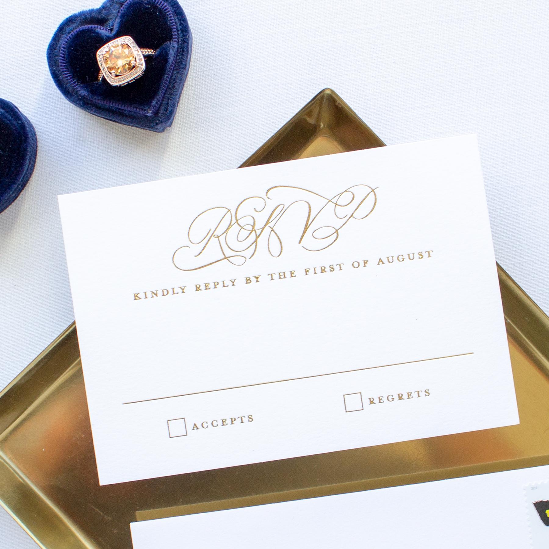 gold foil rsvp card