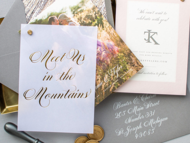 Gold Foil Vellum Save the Date for mountain wedding