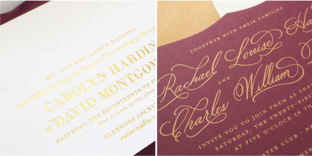 gold foil and gold silk screen printing