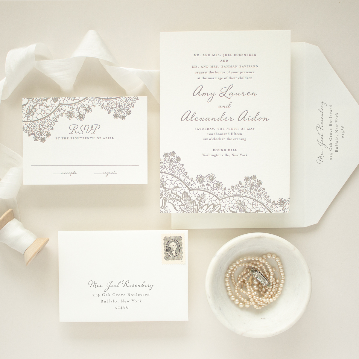 one color letterpress invitations