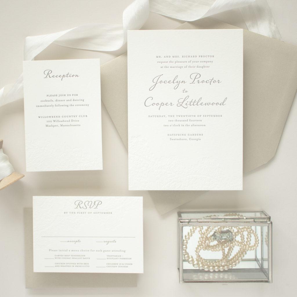 vintage letterpress wedding invitations