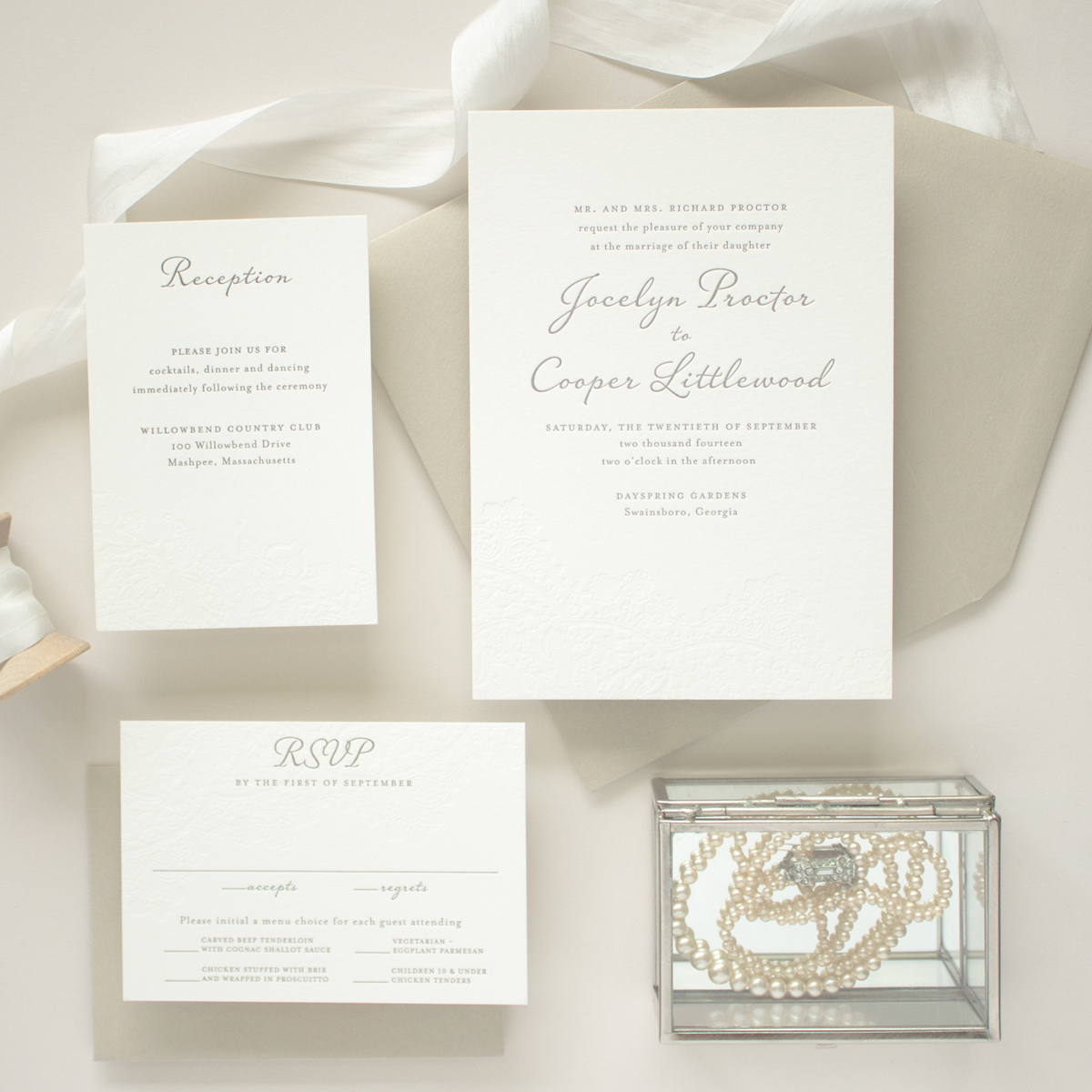 vintage letterpress invitation suite