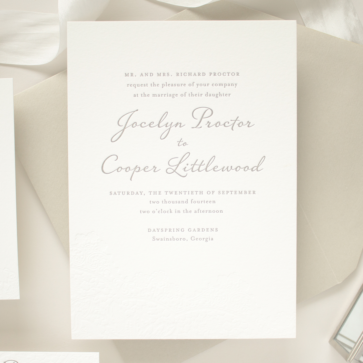 Vintage Wedding Invitations In Blind Letterpress