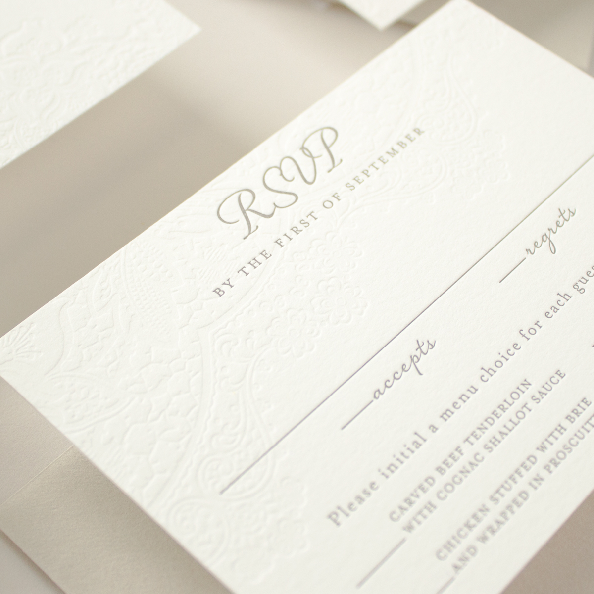 Letterpress RSVP card with meal choices