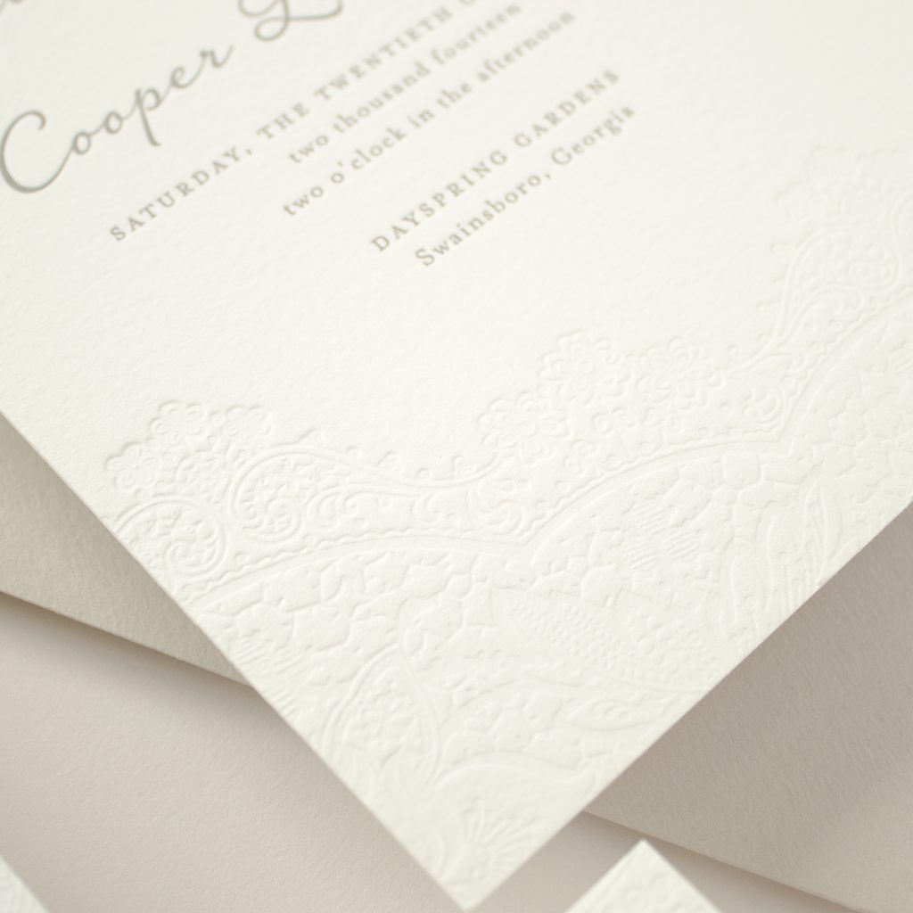 blind letterpress lace on cotton paper
