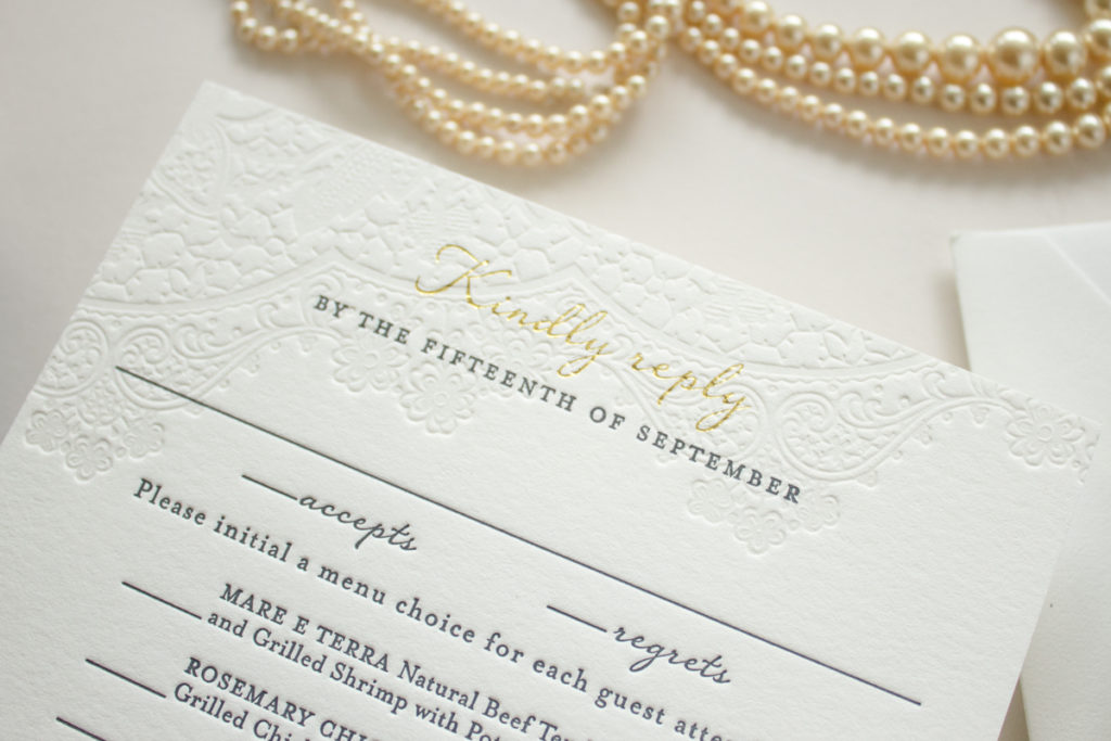 gold foil over blind letterpress