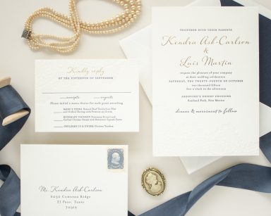 Navy and Gold Foil Invitations | Harmony