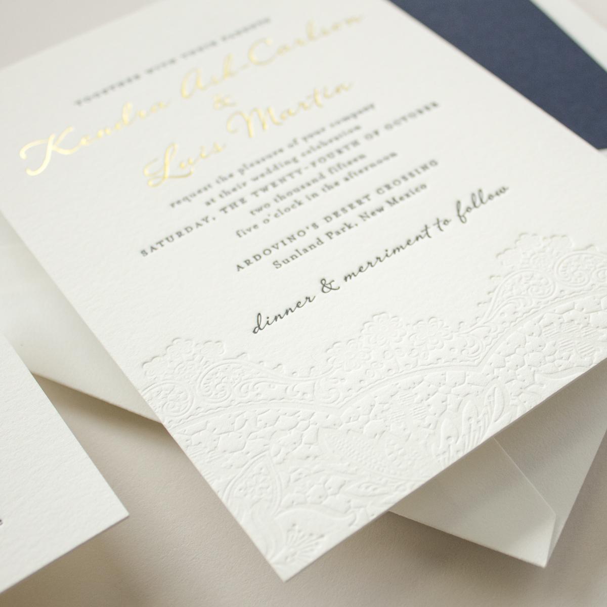 blind letterpress lace detail