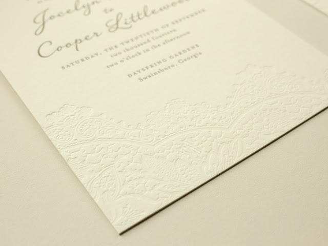 blind impress wedding invitations with lace