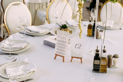 Dinner menu and table number cards