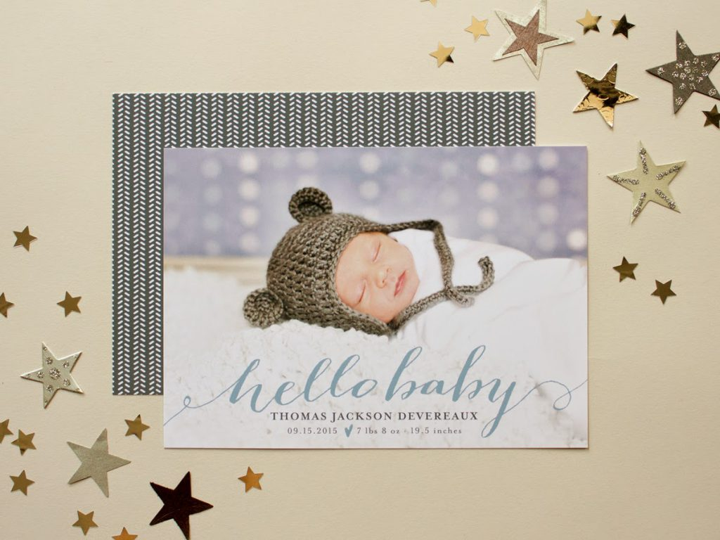 calligraphy baby boy photo card, baby birth announcement