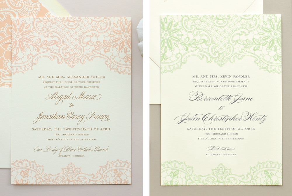 comparing fonts in wedding invitations