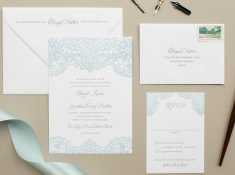 powder blue and gray letterpress