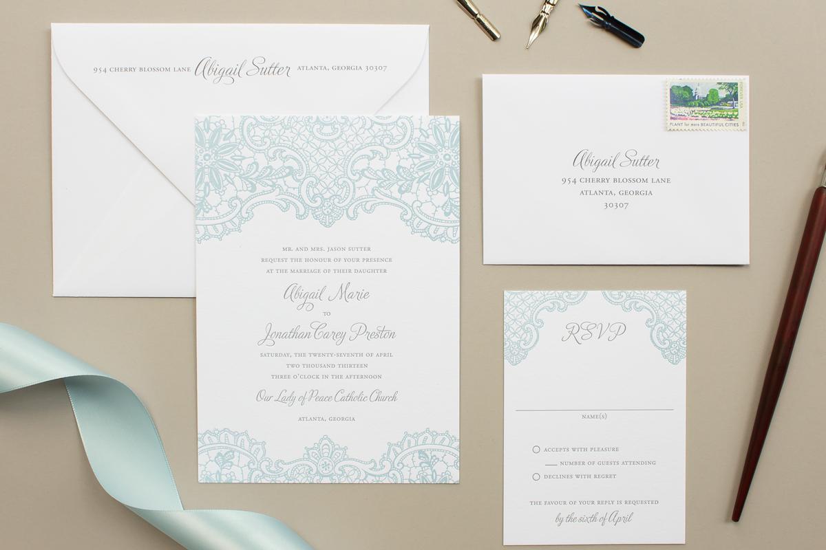 powder blue and gray letterpress