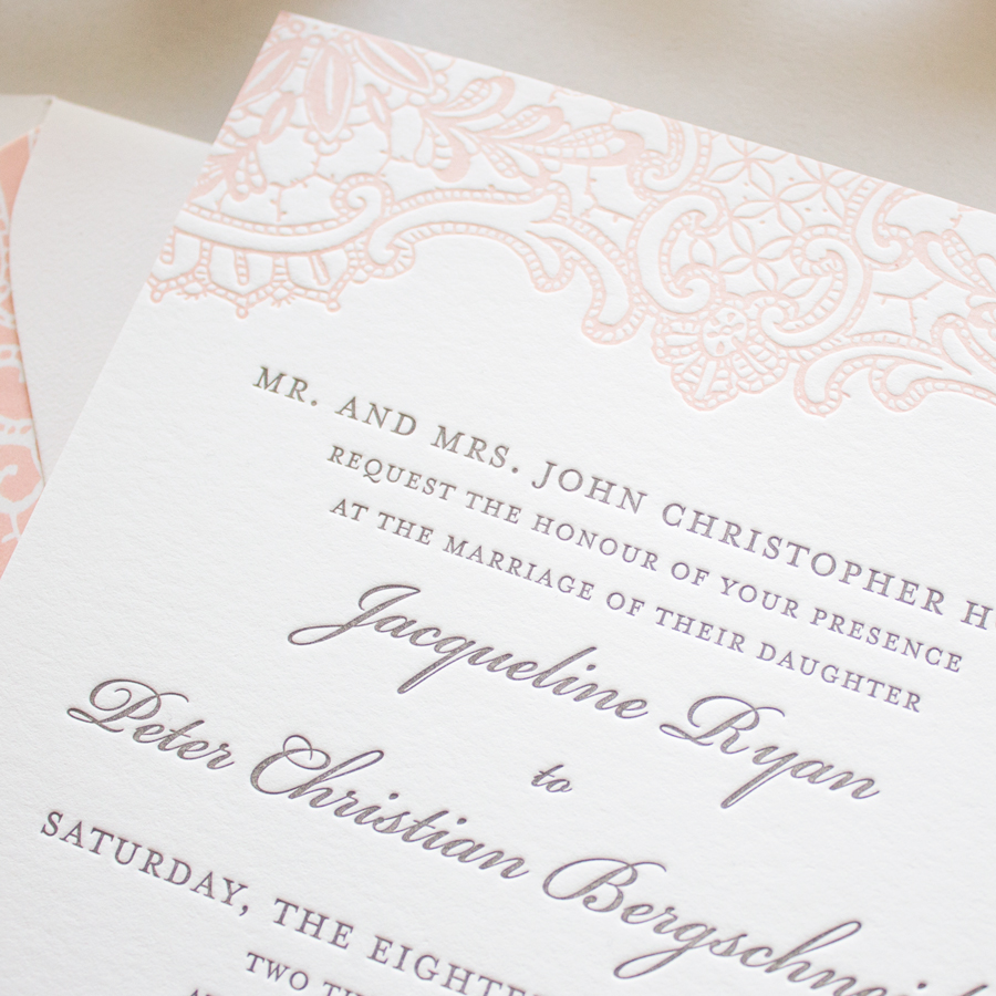 peach lace letterpress