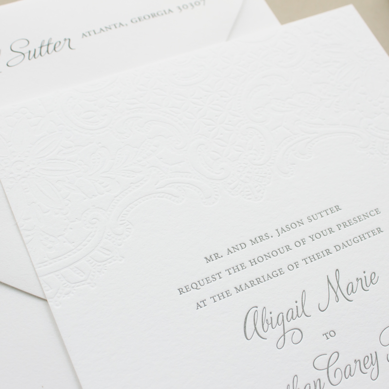 blind letterpress wedding invitations