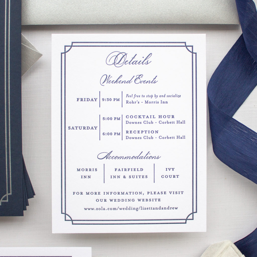 Wedding itinerary card information insert