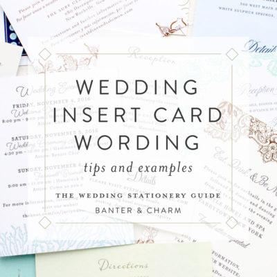 wedding insert card wording