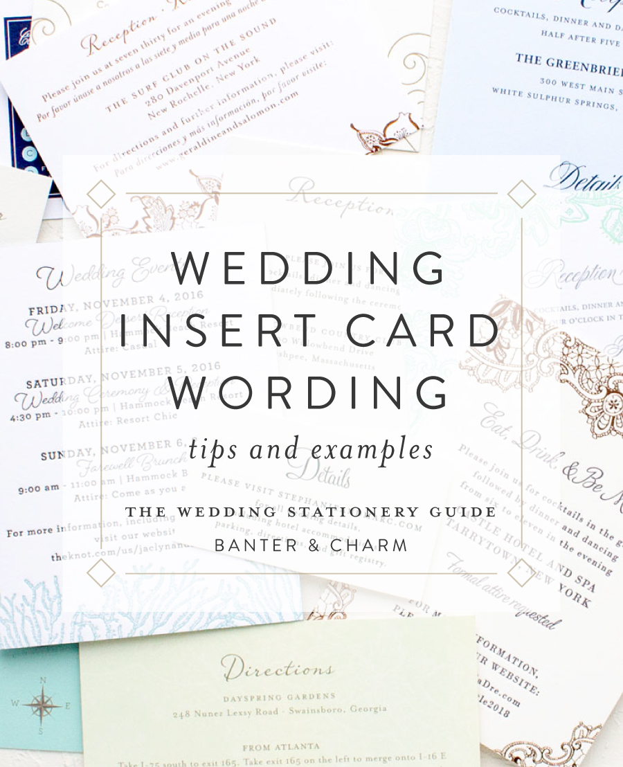 Insert Card Wording Samples | The Wedding Stationery Guide - Banter and  Charm