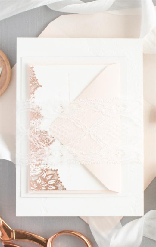 assembled wedding invitation design process