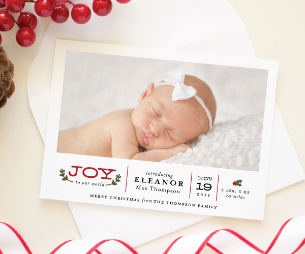 christmas theme birth announcement photo card