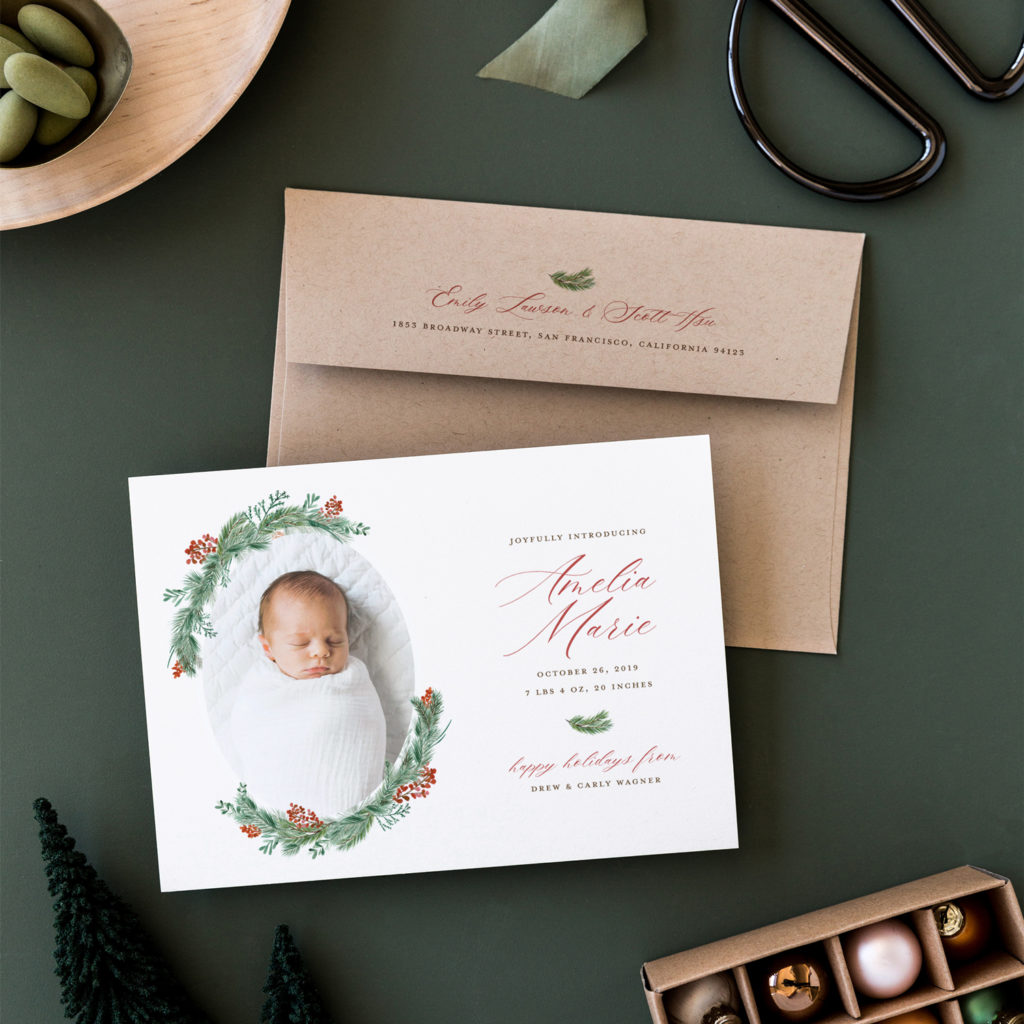 watercolor wreath birth announcement christmas card