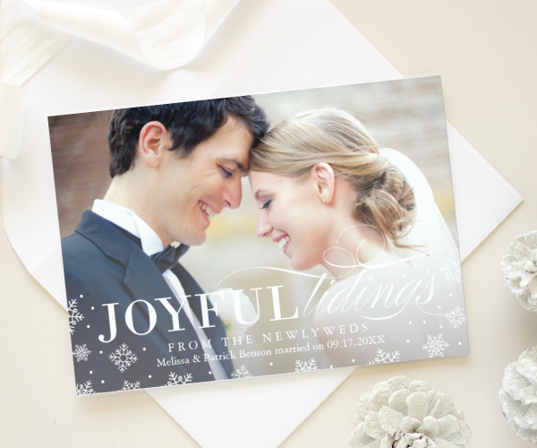 newlywed first christmas cards holiday save the dates 2016