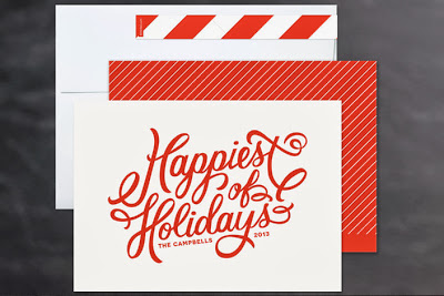 holiday card, hand lettering, happiest holidays, red, christmas card