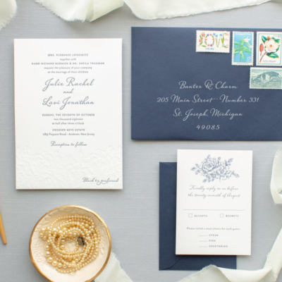 Custom letterpress wedding invitation suite