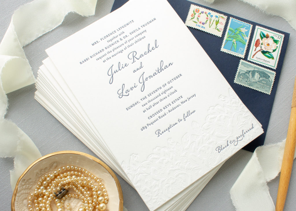 custom invitations with blind letterpress