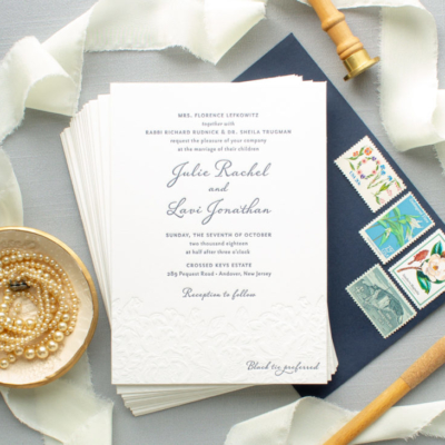 navy and blind deboss wedding invitation