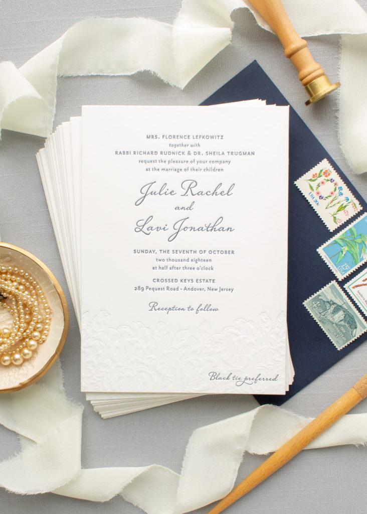 custom invitations for Crossed Keys Estate wedding