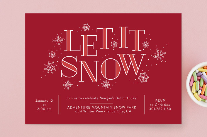red and white Christmas invitation