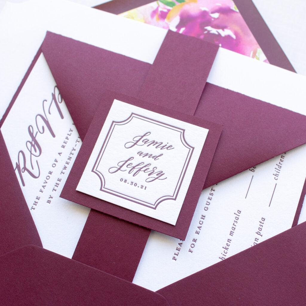 letterpress monogram tag