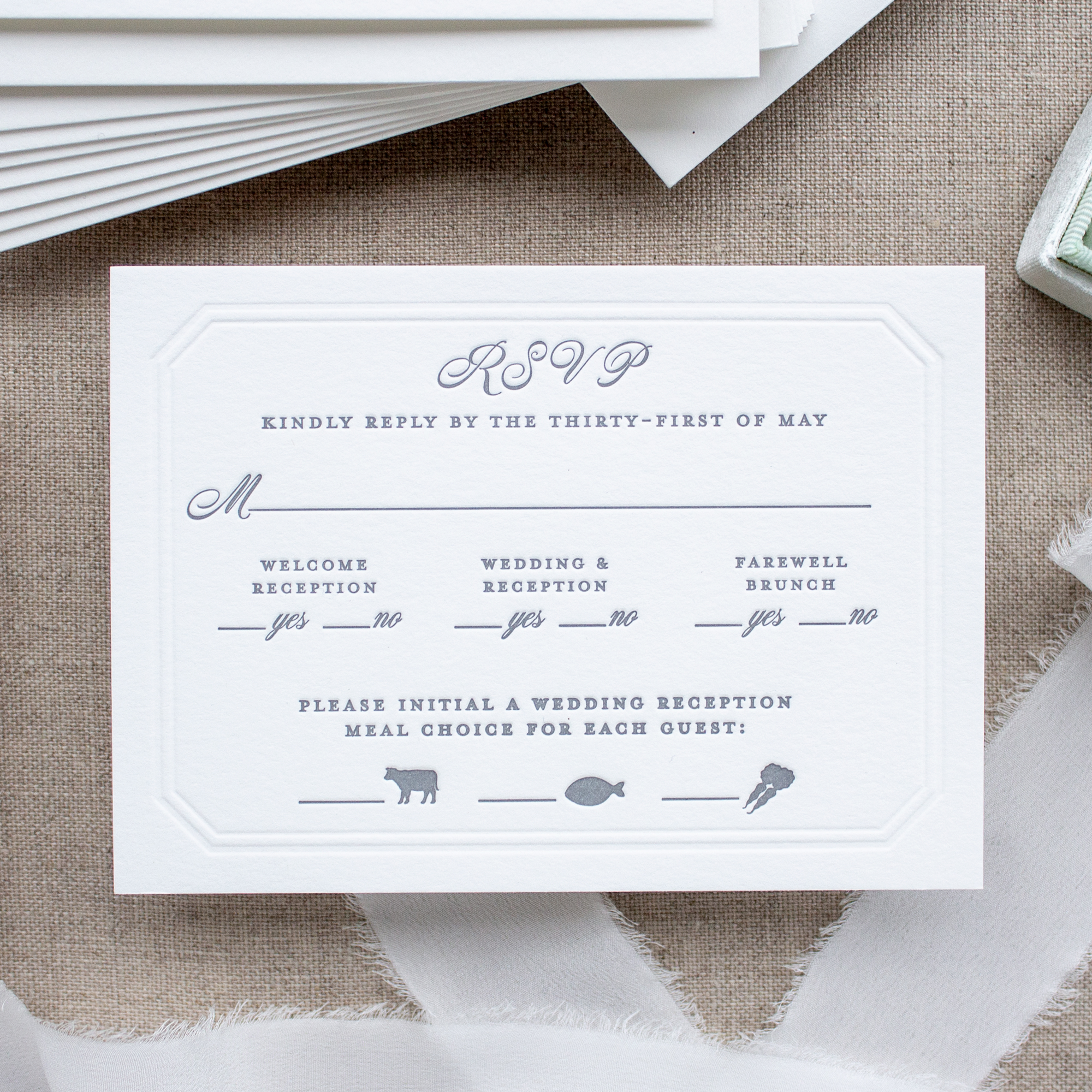 Letterpress RSVP card with meal choice icons