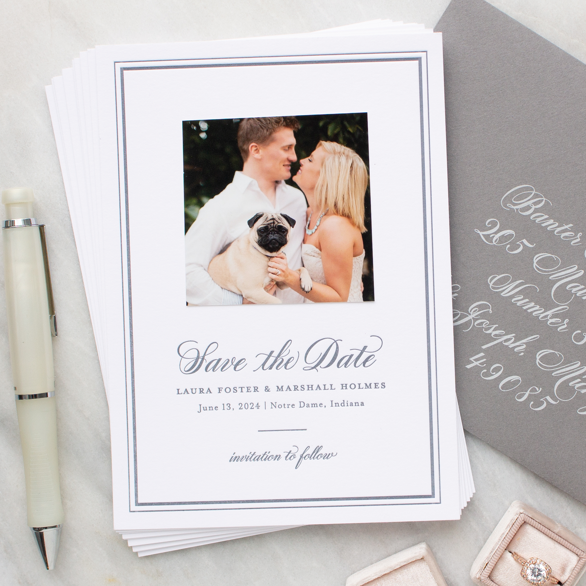 letterpress photo save the date cards