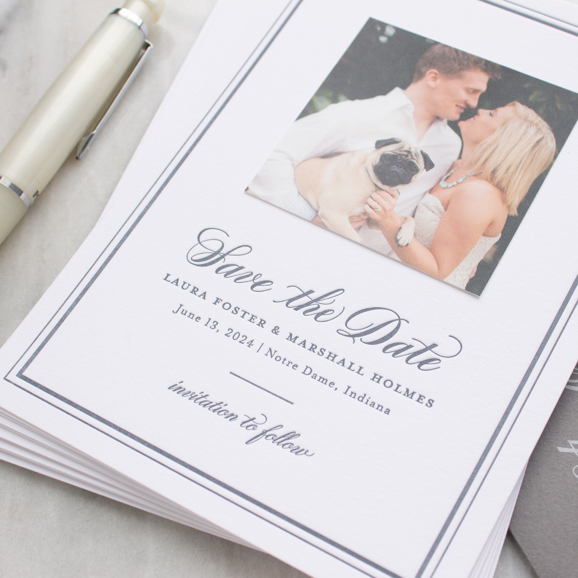 notre dame wedding save the dates