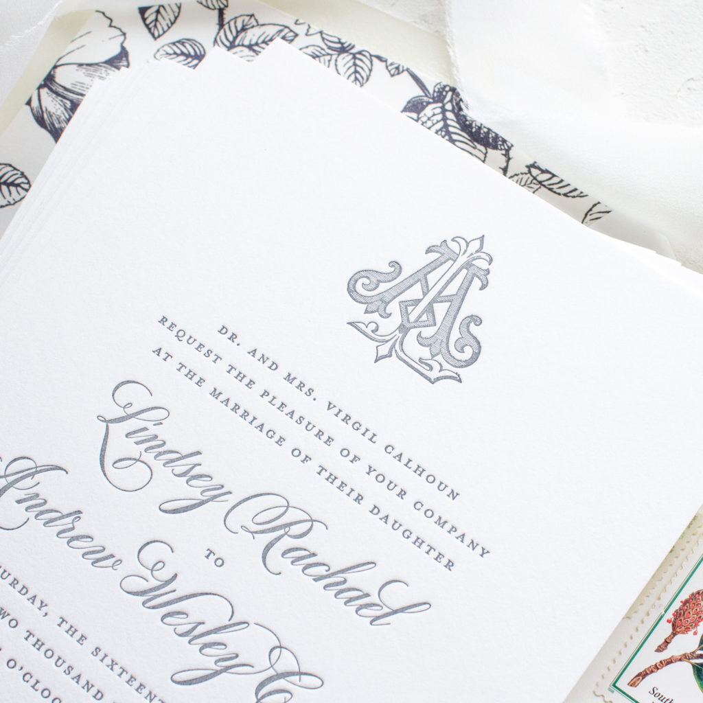 traditional letterpress wedding invitations