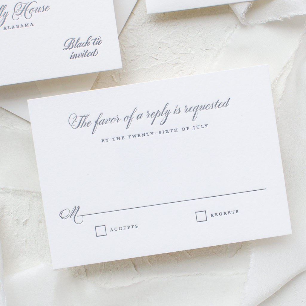 traditional letterpress rsvp card