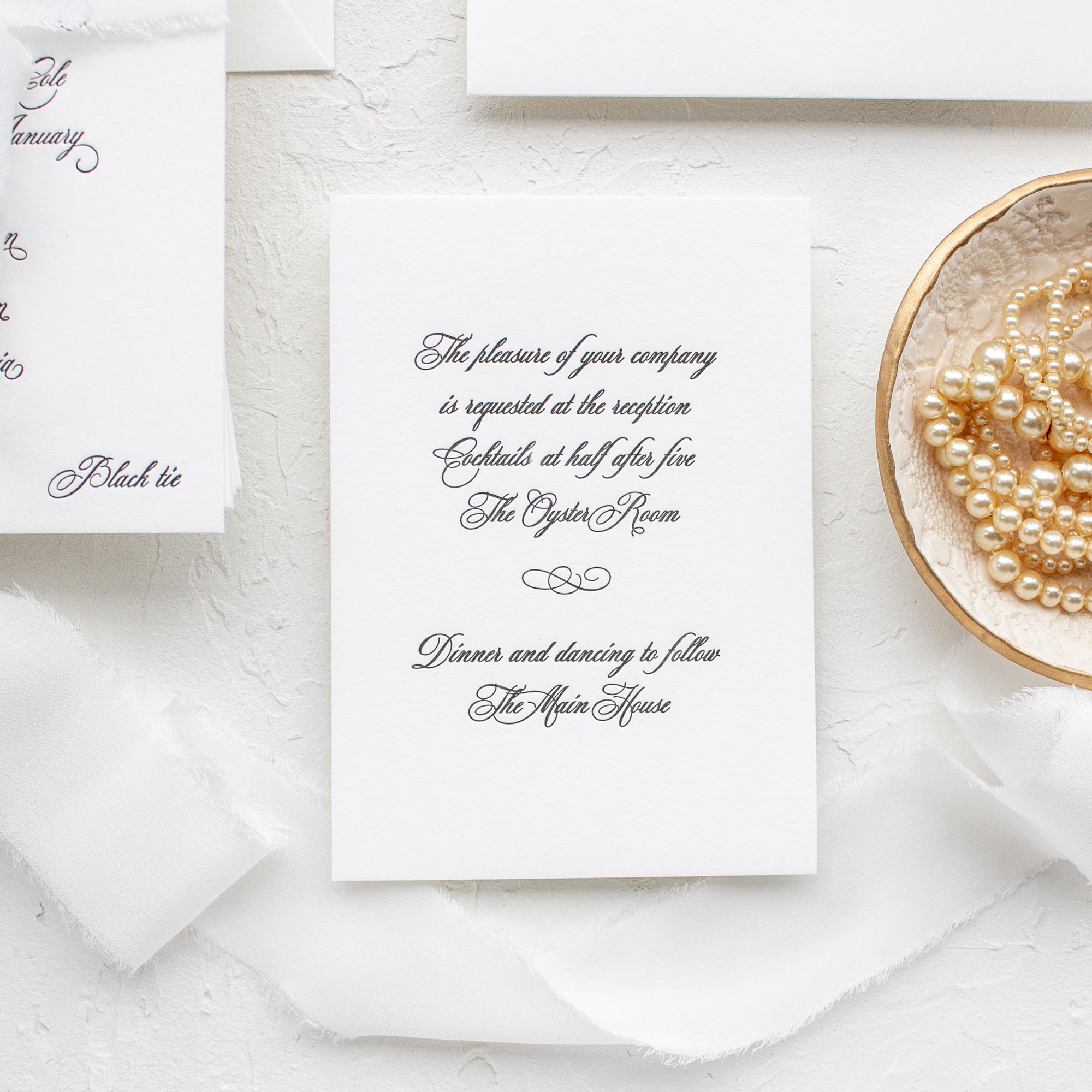 Letterpress wedding reception card Ford Plantation