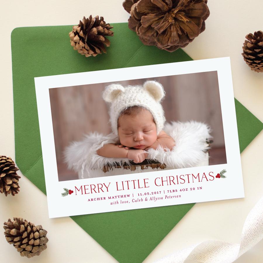 merry little christmas birth announcement