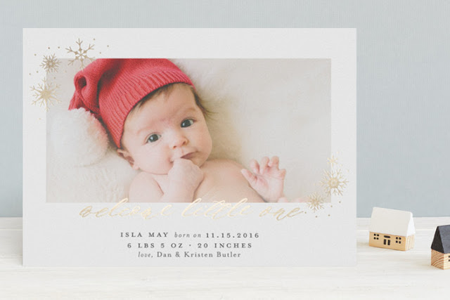 gold foil birth announcement for winter baby