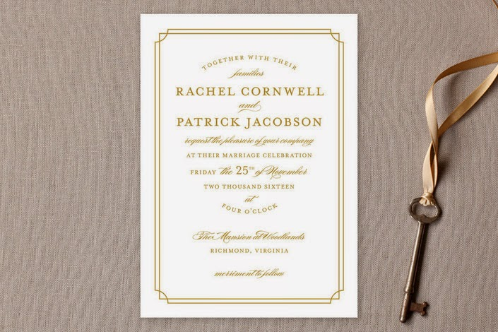 gold wedding invite typographic minted