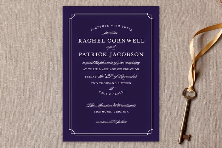 formal navy and white wedding invite