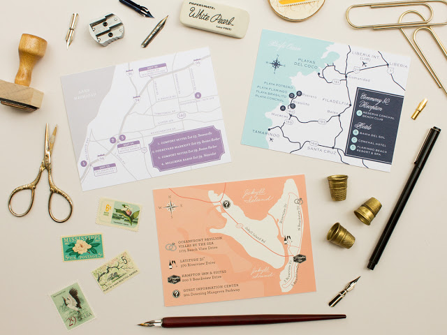 custom wedding direction maps
