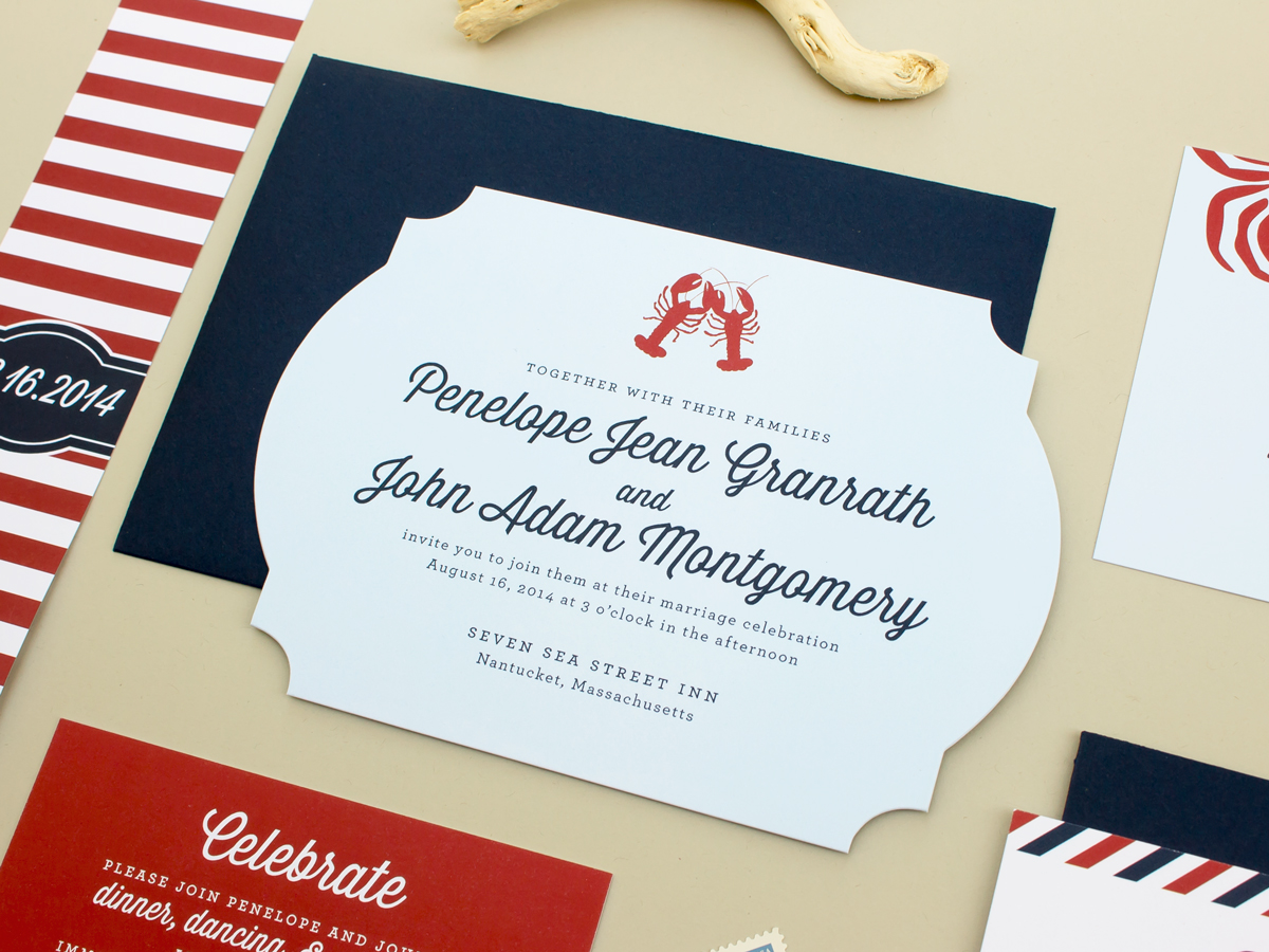 wedding invitations with lobsters