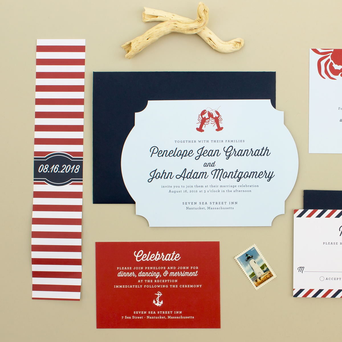 Maritime | Nautical Wedding Invitation Suite with Lobsters - Banter ...