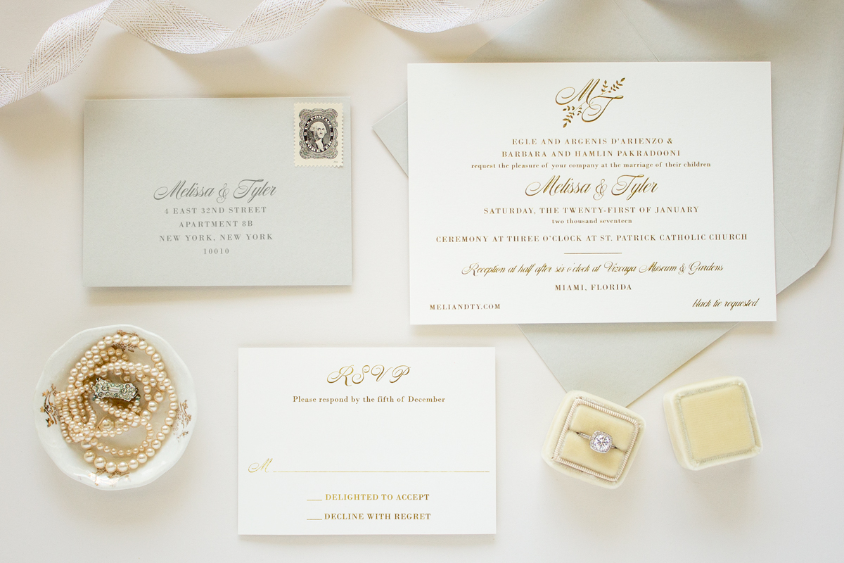 gold foil monogram suite